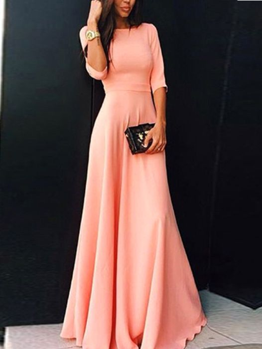 Elbow Sleeve Maxi Pink Dress 17.67