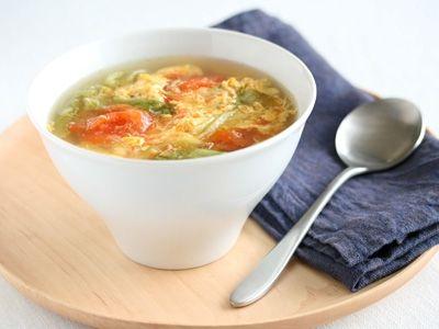 5分でできるトマトとレタスのコンソメ卵スープ