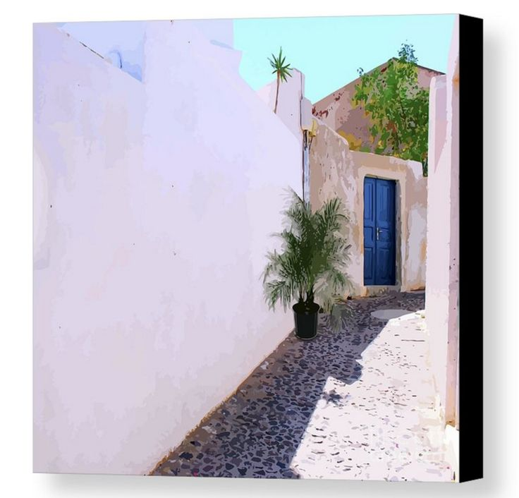 A quiet back alley somewhere on a hillside in Santorini, Greece. You can't help but wonder what magnificent views lie behind these high concrete walls. I'd love to peek behind that blue wooden door. The beautiful palm makes it all look very homely.