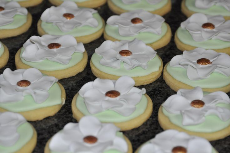 Wedding Favour cookies mint green with white fantasy flowers