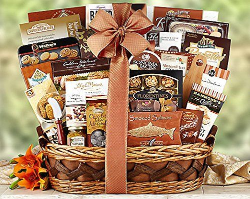 Gourmet Foods Gift Baskets, the Ritz, This Abundant Basket Is Filled with Chocolate Toffee Almonds, Walkers Scottish Shortbread and Cookie Tin, Sesame Crackers, Smoked Salmon, Godiva Milk Chocolate Truffles, Lily O'brien's Chocolate Chip Cookies, Multi-grain Crackers, Sonoma Jacks Garlic Herb Cheese Wedges and Cheese Knife, Lambertz Almond Hazelnut Florentines, Cheddar Cheese Biscuits, Rocky Mountain Chocolate Factory Toffee Chocolate Chip Cookies, Peanut Crunch, Dried Fruit and Nuts, Honey…