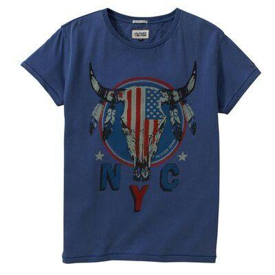 T shirt met print Amerikaanse vlag!