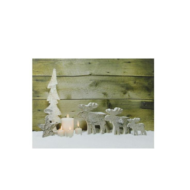 "LED Lighted Flickering Candles and Winter Wooden Moose Canvas Wall Art 12"" x 15.75"", Grey metal"
