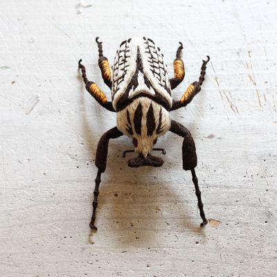 I know it ain't real. But it's a big and it's cool. felt embroidery brooch ~Goliathus goliatus