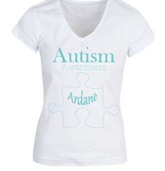 Ardané Autism Support Women's White V neck Tee $20.00