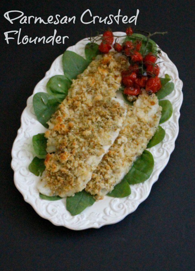 Parmesan Crusted Flounder ~ Lydia's Flexitarian Kitchen #seafood #bakedfish #flounder
