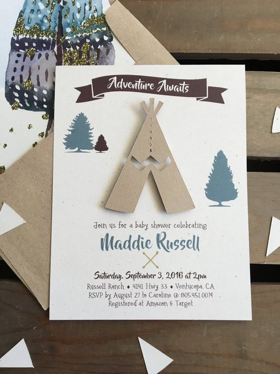 Adventure Awaits Baby Shower Invitation Teepee Custom Girl Boy Gender Neutral Boho Chic In 2019 Products Baby Shower Invitations Baby Shower