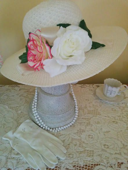 Shop for English Tea Party Hat Set English Garden High tea Vintage Gloves & Vintage necklace Tea Party Hat Wedding Hat Pink Rose New Handmade by AshTreeMeadowDesigns