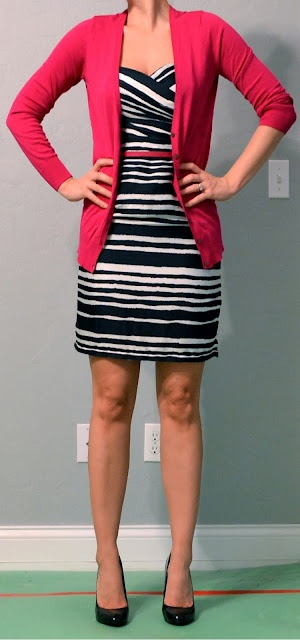Top:Bright pink cardigan - Old Navy  Dress: Navy striped dress - H   Shoes: Black patent heels - Mossimo from Target   Accessories: Bright pink belt - Ann Taylor Loft