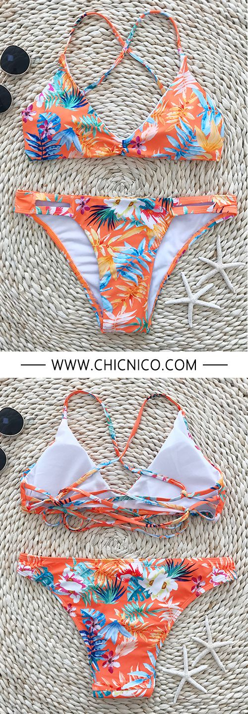 We have been all smiles since the floral print cross back bikini set. - - Search more at chicnico.com