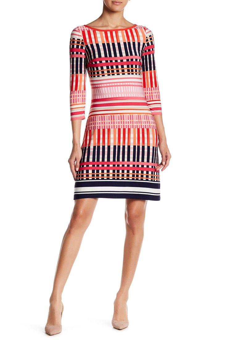 3/4 Sleeve Printed Shift Dress