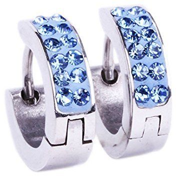 BodyJ4You Huggie Hoop Earring Light Blue Crystals Stones with Light Blue Crystals