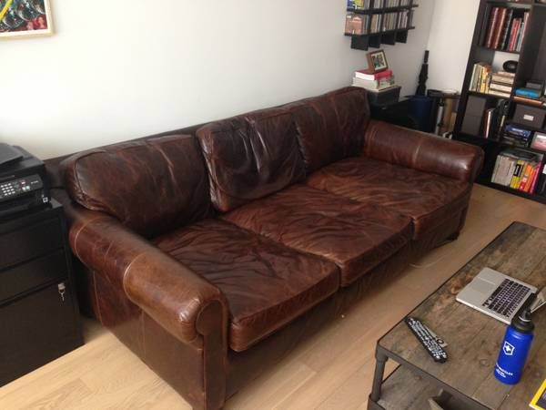 Incredible Luxe Restoration Hardware Leather Sofa 96 Inches Wide 49 Inches  Deep (extra U0027luxe