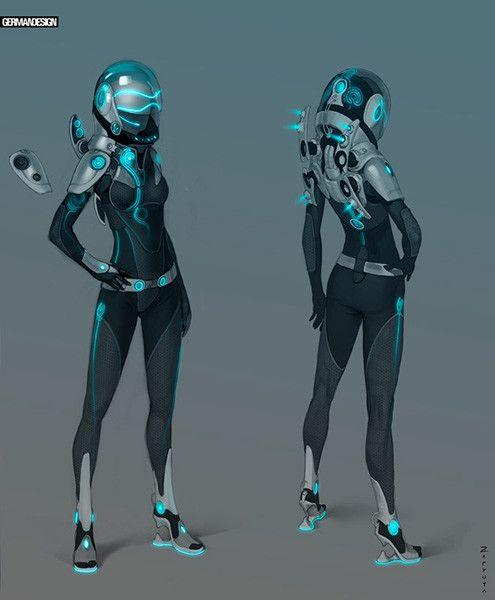 Concept art of female Spacesuit and aquamobile, Alexey Zaryuta on ArtStation at https://www.artstation.com/artwork/1bzPe