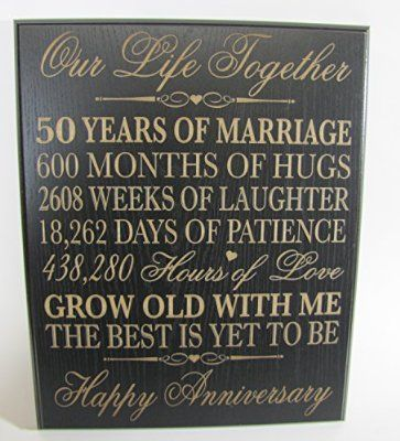 50th Wedding Anniversary Wall Plaque Gifts For Couple