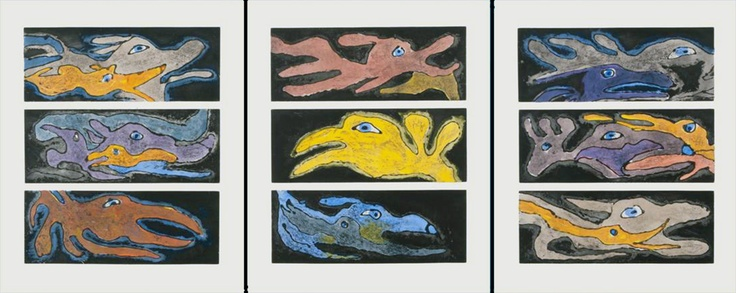 """Item # P13CDS01 Price: C$12,000 Title: Angakuit Qaijut (Emerging Spirits) Dated: 2010 - Signed Artist: Link   Ashevak, Kenojuak    Edition: 12  Community:  Link   Cape Dorset     Ref: Print #1 of the 2013 Cape Dorset Spring Release  Size: inches/cm 47.5"""" x 119"""" 120.7 cm x 302.3 cm Style: Etching / Aquatint  Inquire Directly to Simon. Email: Simon@Inuit.net Ph: Toll Free (888)-228-8210"""