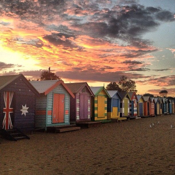 Brighton Beach bath houses near #Melbourne #Australia bluebirdsandseashells instagram