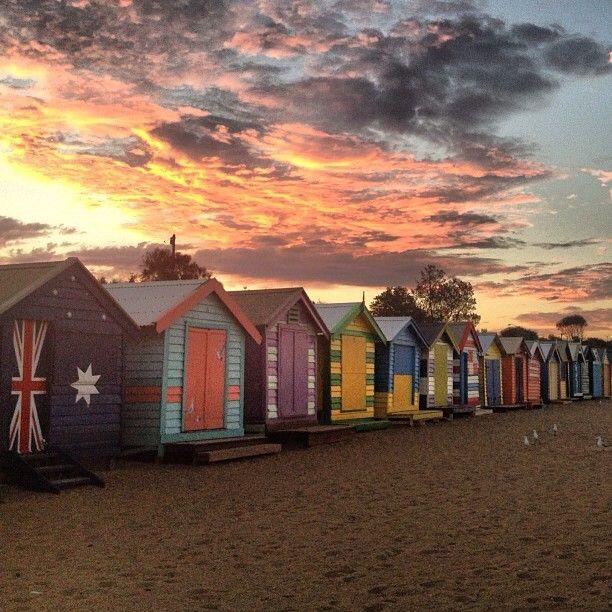 Brighton Beach bath houses near #Melbourne #Australia bluebirdsandseashells instagram