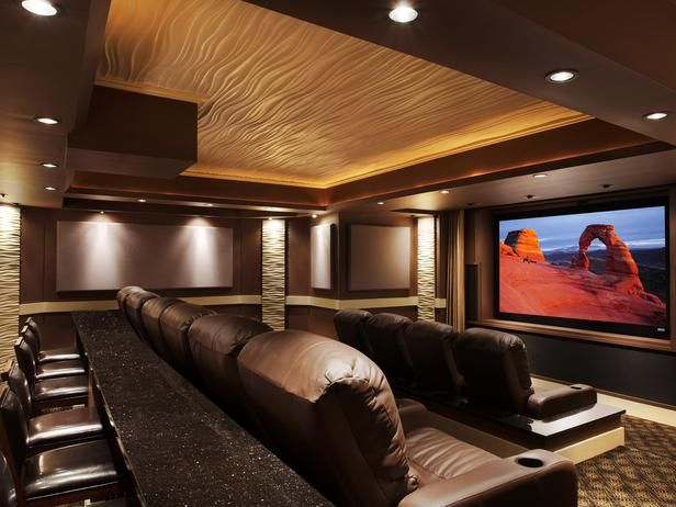 Home Theater Designs From CEDIA 2012 Finalists ~Love The Ceiling Texture  And Lighting