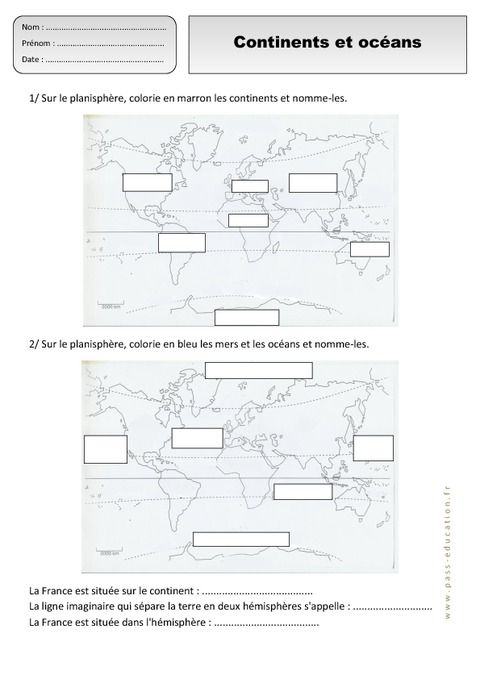 Continents - Océans - Ce1 - Exercices - Espace temps ...