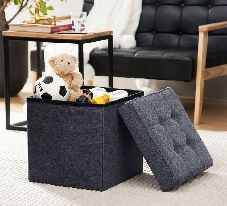 Nice Ellington Home Foldable Tufted Linen Storage Ottoman Cube Foot Rest  Stool/Seat   15 Part 20