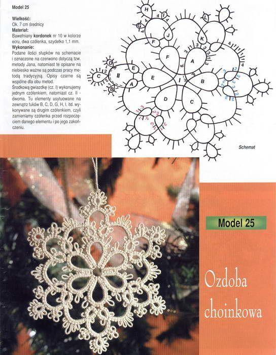 Snowflake tatting pattern: