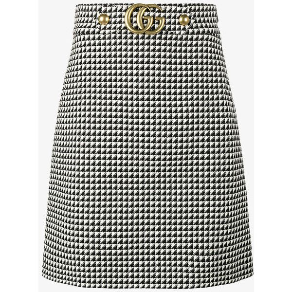 Gucci Midi A-Line Dogtooth Print Skirt ($830) ❤ liked on Polyvore featuring skirts, bottoms, black, mid calf skirts, a-line skirt, checkered skirt, woolen skirt and knee length a line skirt
