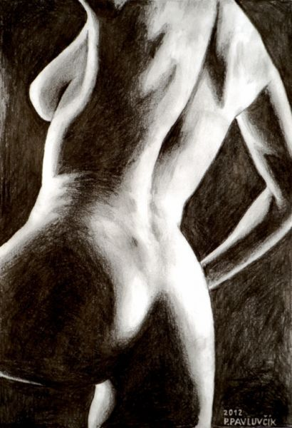 figure drawing, a naked woman by Peter Pavluvcik.