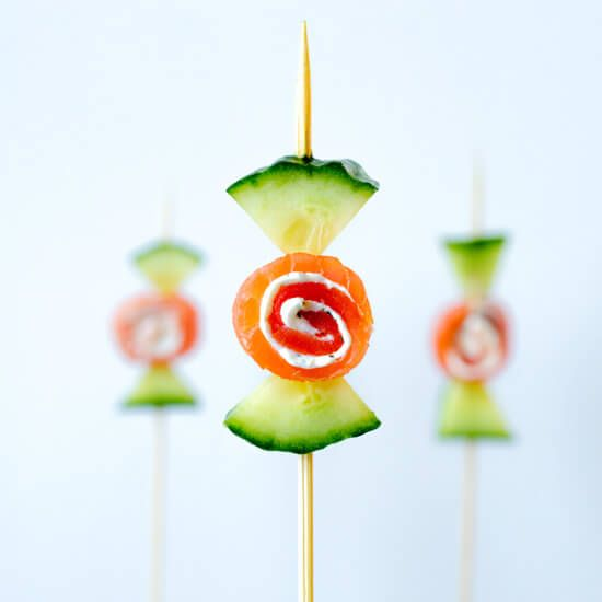 "Cucumber smoked salmon ""candy"""
