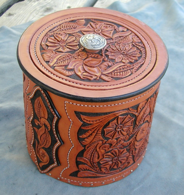 Custom hand made leather urn by nd chance