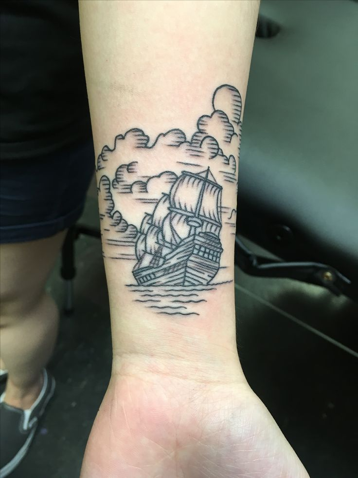 brian carr, ship tattoo, ship, shipwrecked, line art, wrist tattoo,