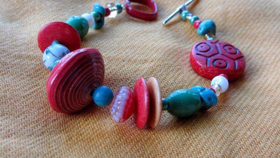 Chunky Multicolored Beaded Bracelet by AmarisJewelry on Etsy, $7.00