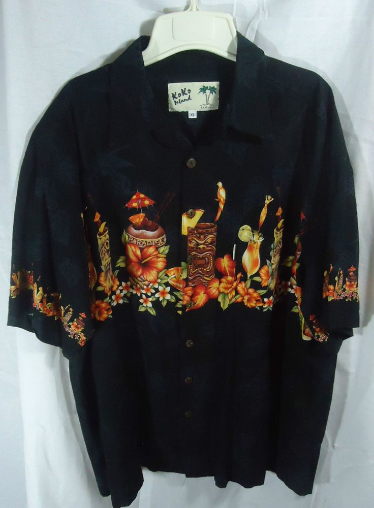 Koko Island Mens XL Black Hawaiian Button Front Shirt ...