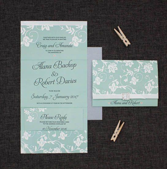 Blue and White Wedding Invitation