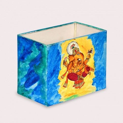 7 Inch Lord Ganesha Rectangular Lamp Shade Canvas Handpainted :- This shade is easy to fit and creates a statement piece that will add instant style to your home decor. #walllamps #floorlamps