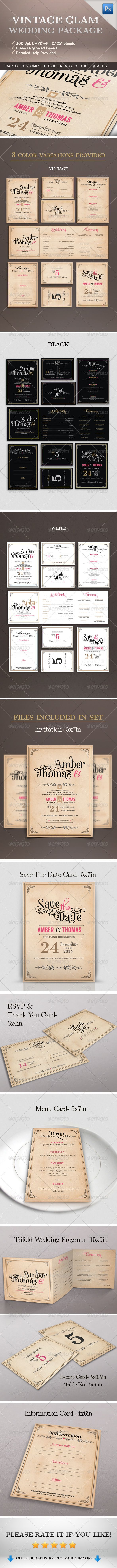 free wedding invitation psd%0A Vintage Glam Wedding Package  Invitation TemplatesPsd