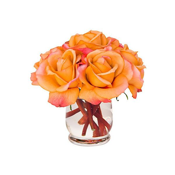 """7"""" Roses in Hourglass Vase - Faux Arrangements ($75) ❤ liked on Polyvore featuring home, home decor, flowers, decor, decorative accessories, rose home decor, floral home decor and orange home decor"""