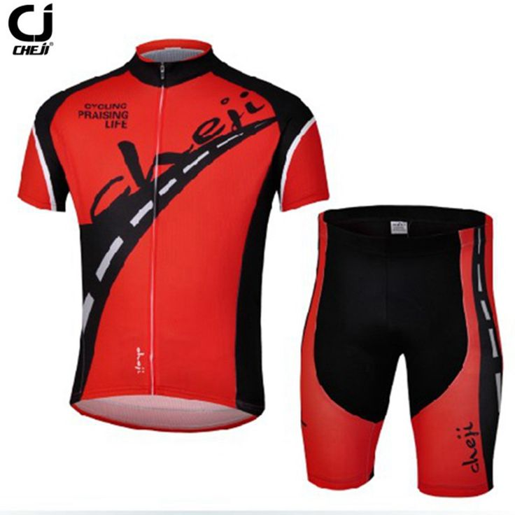 HOT Cheji Men Cycling Jersey Shorts Sets PRO Bike Clothing Suits mtb Wear Shirts top road black and red Bicycle Bottom