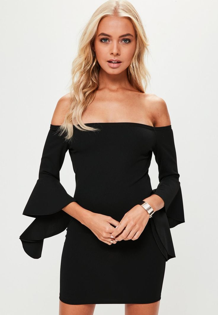 Missguided - Black Bardot Frill Sleeve Dress