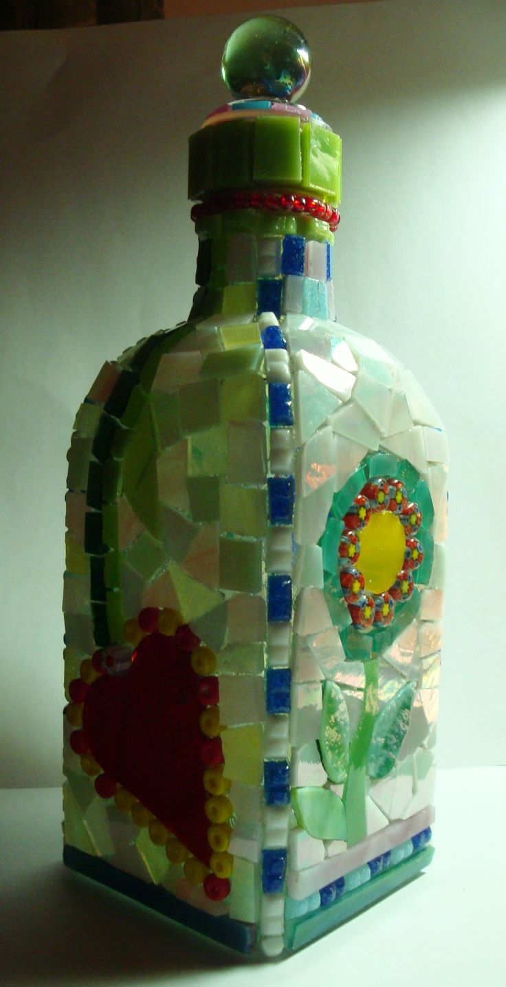 Stained glass mosaic bottle called Hearts u0026