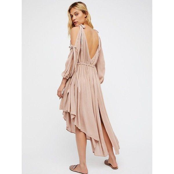 Nakita Banana Maxi Dress ($120) ❤ liked on Polyvore featuring dresses, cold shoulder maxi dress, cold shoulder dress, plunging v neck dress, v neck dress and v-neck maxi dresses