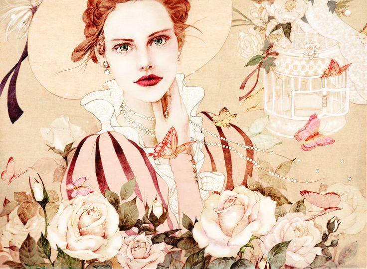 """Hj Kim  • 2주 전    """"roses"""" Illust for vintage dress shop"""