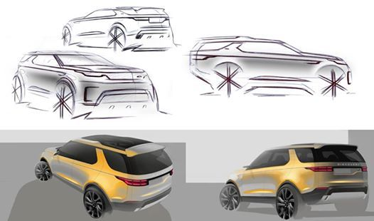 Photo: Official sketches of Land Rover Discovery Vision concept   Design director Gerry McGovern Overall team leader Richard Woolley Chief exterior designer Massimo Frascella
