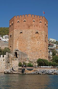 The Kızıl Kule (Red Tower) is a historical tower in the Turkish city of Alanya. The building is considered to be the symbol of the city, and is even used on the city's flag.