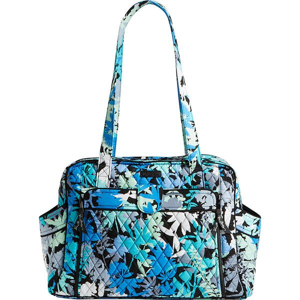 Vera Bradley Stroll Around Baby Bag ($109) ❤ liked on Polyvore featuring bags, handbags, diaper bags, blue, strap purse, vera bradley purses, diaper bag, multi color purse and white purse