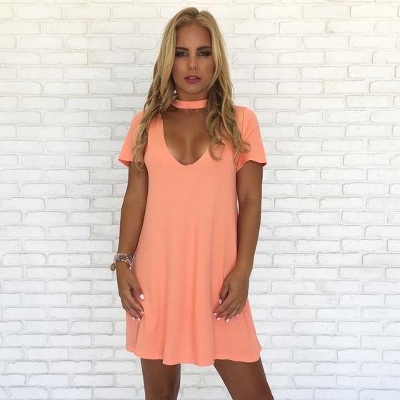 Color Me Coral Choker Shift Dress