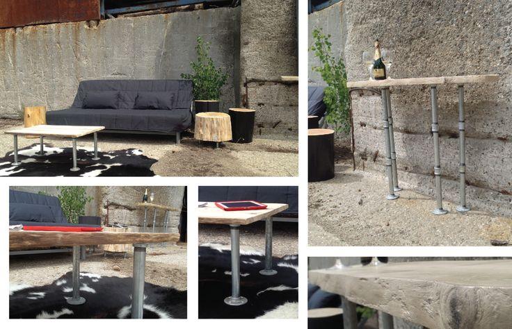 Industrial pipe with natural drifwood :) #pipe #metal #wood Cliquez ici pour voir plus d'option de produits: http://www.purcachet.com/index.php/accueil-vente-en-ligne
