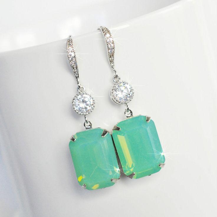 Handmade Mint Green Pacific Opal Colour Emerald Cut Earrings (Sparkle-2528)