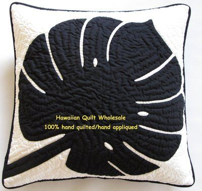 """Hawaiian quilt handmade 100% hand quilted/appliqued 2 PILLOW COVERS/CUSHIONS 18"""" on eBay!"""