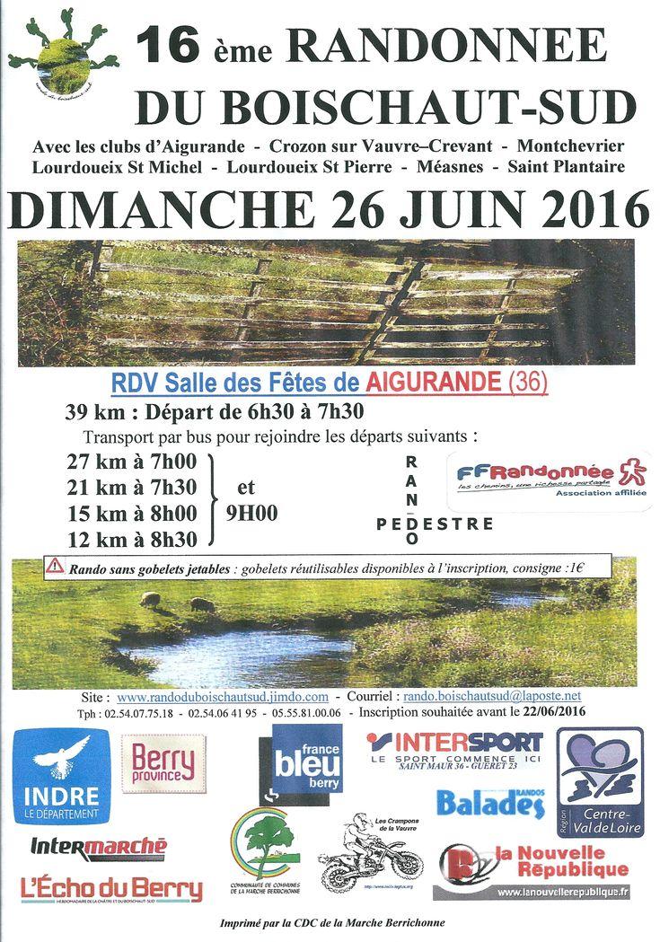 Rando Boischaut Sud, Aigurande, Salle des fêtes, Dimanche 26 Juin 2016, 6h00 > 16h30